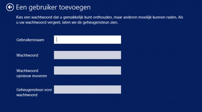 Een gebruiker toevoegen in Windows 8.1