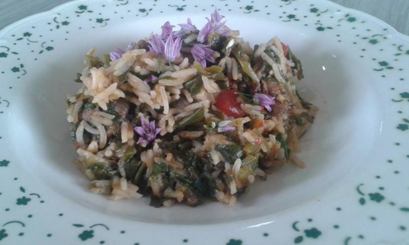 Koken met groenten uit de tuin: gewokt lamsvlees met spinazie
