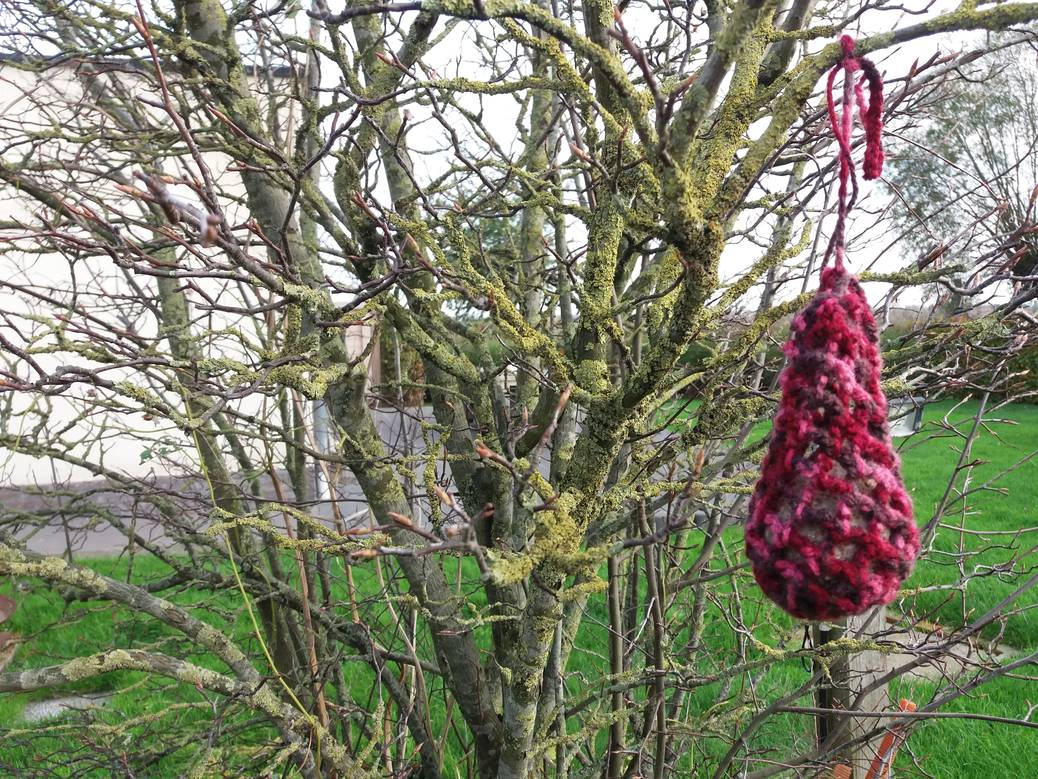 Lief voor de vogels in de winter met gehaakt vogelvoerzakje
