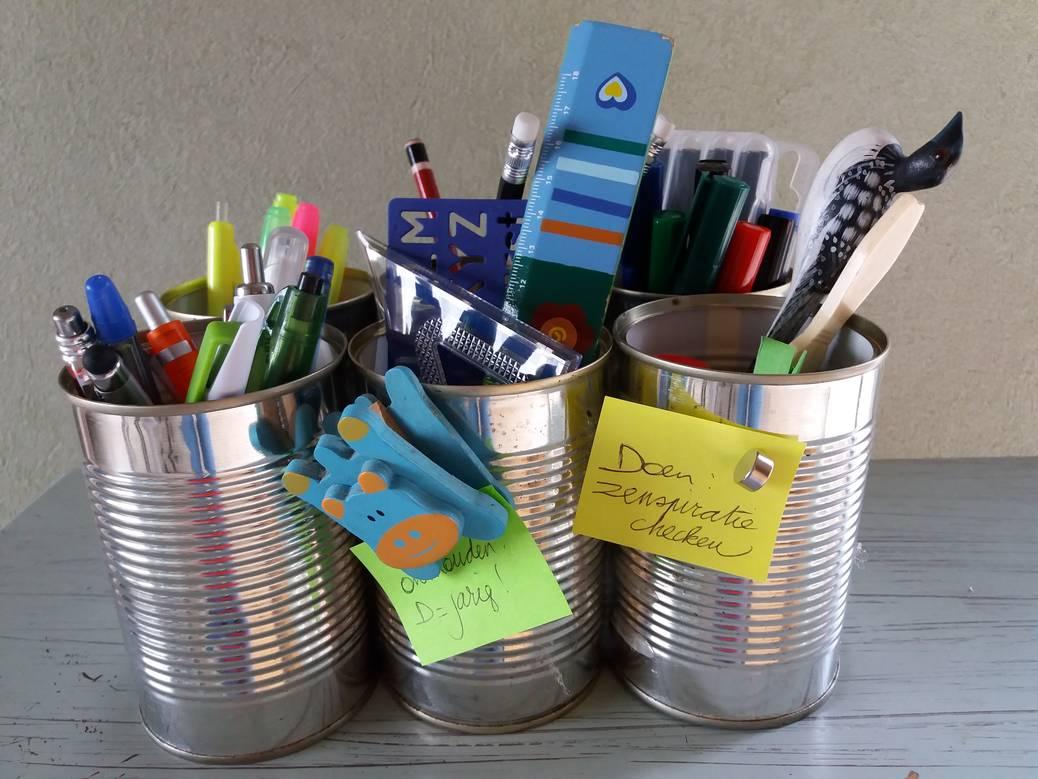 DIY: organizer van blikjes