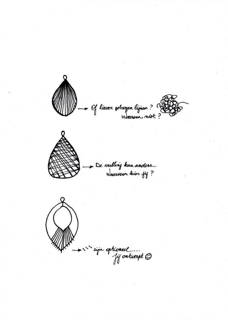 patroon oorbel 3d pen zenspiratie